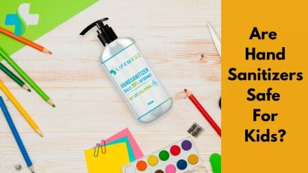 Hand sanitizer on table with color pallents and brush