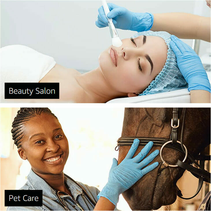 cosmetic, beauty salon gloves and gloves for pet care